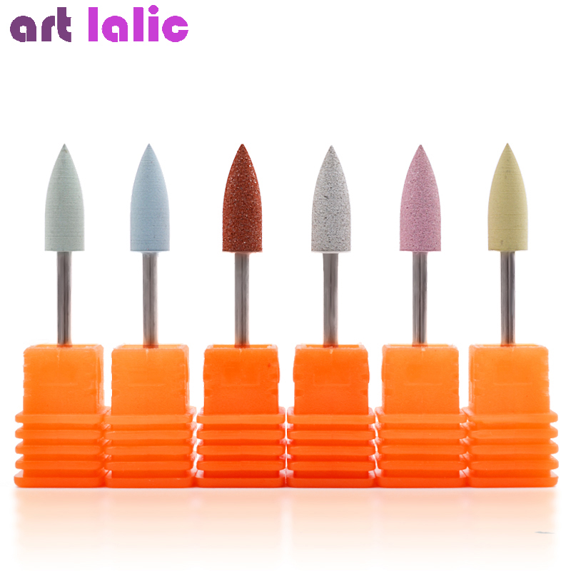 6 Types 10*24mm Rubber Silicon Nail Art Drills Rubber Bit Big Head Grinding Nail Buffer For Manicure Pedicure Cuticle Tools