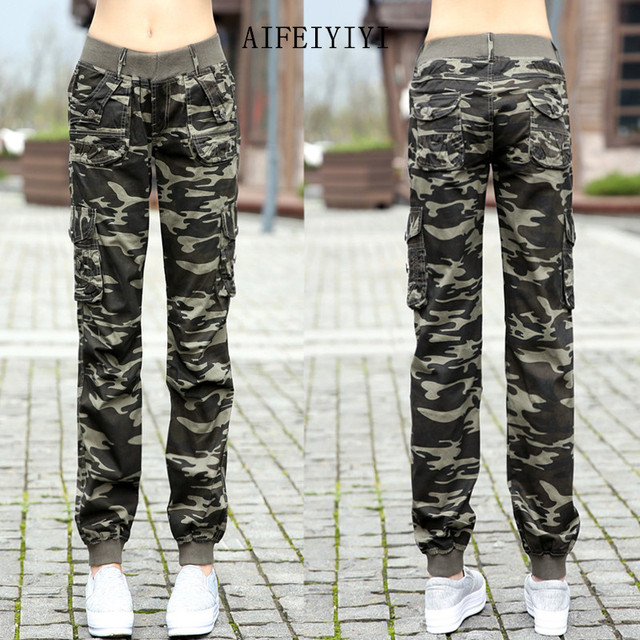 Womens Workout Camouflage Military Harem Cargo Jeans Pants Denim Overalls Beam Baggy Pant Ladies Loose Multi-pocket Trousers 3