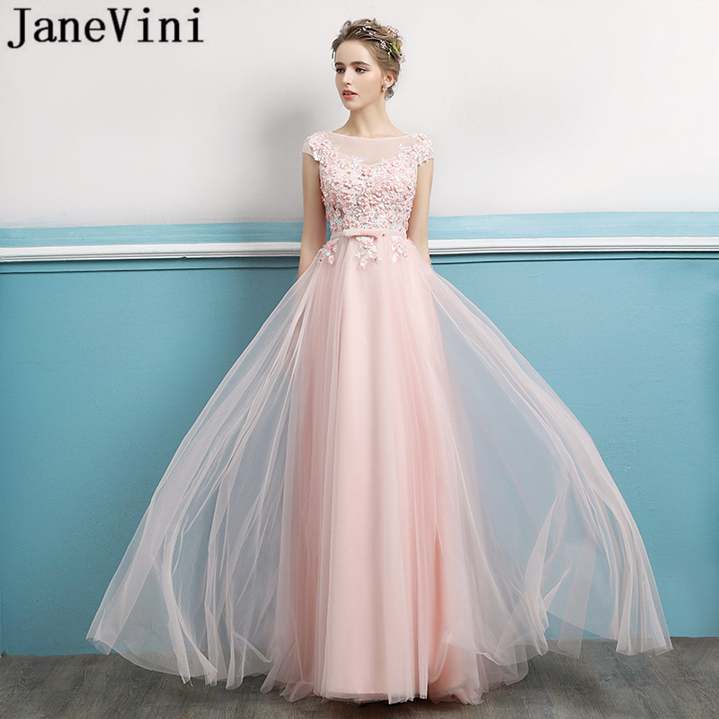 JaneVini Pink Long   Bridesmaid     Dresses   with Sleeves Lace Appliques Sequined A Line Sweep Train Backless Tulle Formal Prom Gowns
