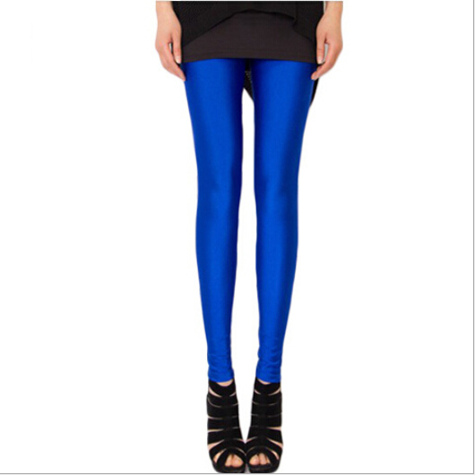 2018 Spring and summer ice silk leggings thin women streetwear fluorescent silk stretch ninth-pants candy color one size pants
