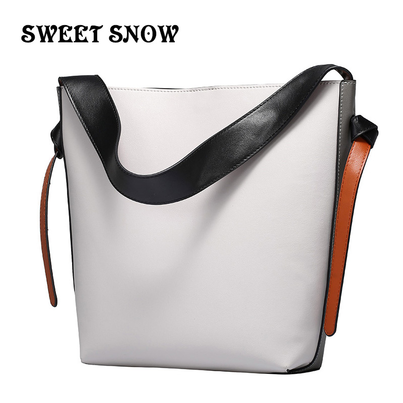 SWEET SNOW Brand Fashion Genuine Leather Female bags Patchwork women s Messenger Bags Bucket package Vintage