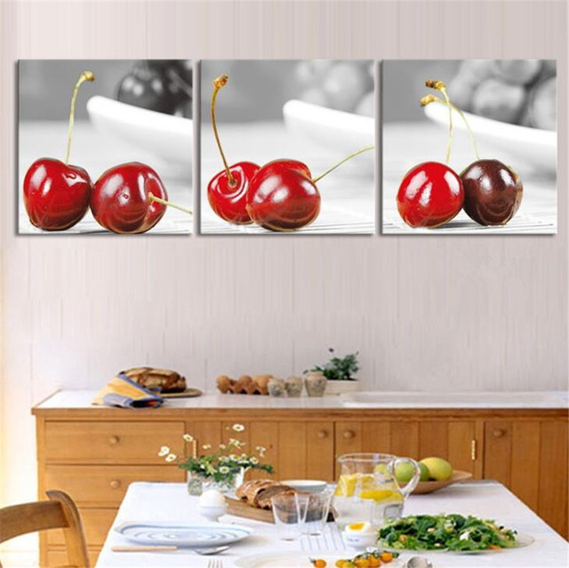 Attrayant 3 Panel Still Life Cherry Fruit Painting Canvas Art Picture Decoracion Kitchen  Paintings Unframed Canvas Picture
