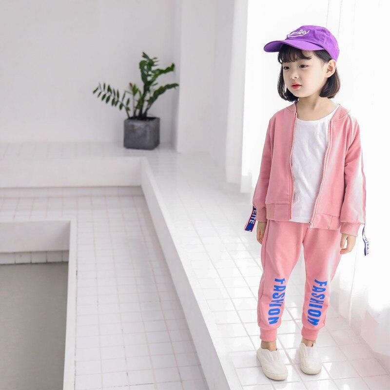 Girls Sportswear 2018 Children's Zipper Jacket Loose Feet Pants 2 Pcs Sets For Girls Kids Boy Casual Sports Sets Clothing 3-7Y стоимость