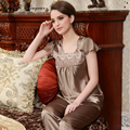 Free shipping costume adult pyjamas good quality silk sleepwear sexy embroidery lace neck ladies pijama sets brown color
