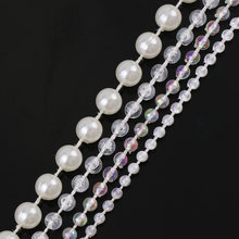 1 Meter Transparent AB Ivory Round Pearl Chain ABS Bead Trim Strass Wedding Pearl Decoration String Crafting DIY Accessory(China)