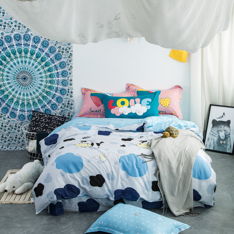 Cartoon Sky Blue Milk Cow Bedding Set Cotton Bed Linen Bedclothes for Child Bedding Gift 4pcs Duvet Cover Bed Sheet Pillowcase
