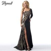 Vrouwen sexy zwart maxi jurken side split stiksels vestidos one-schouder vloer-lengte lace dress lange vrouwen dress de festa p20