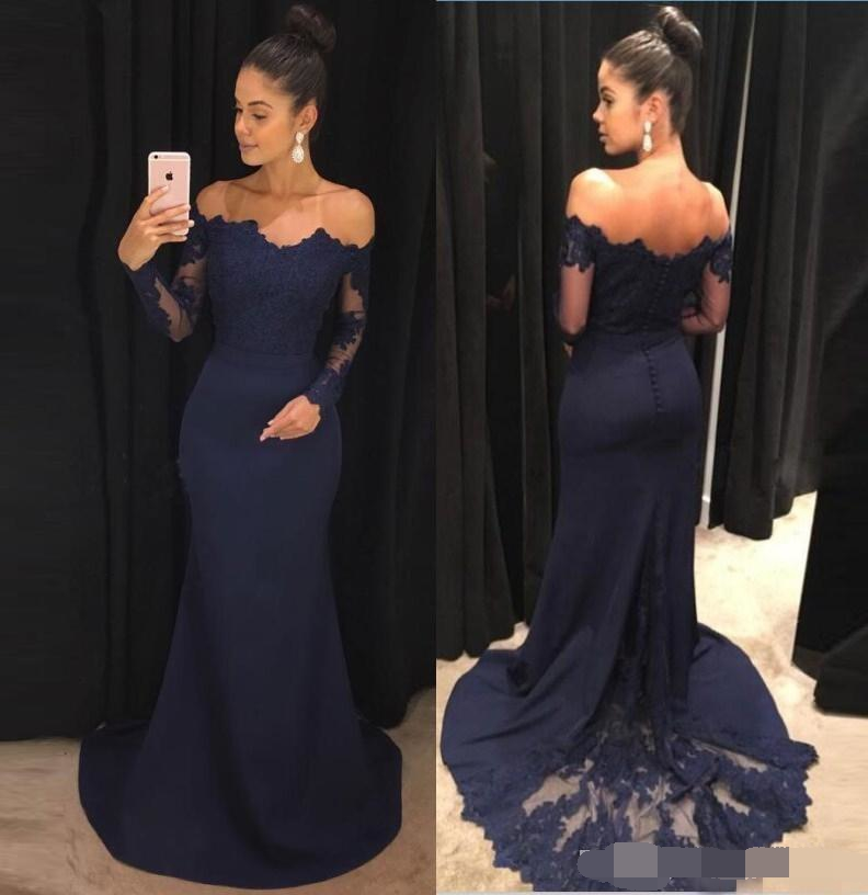 Navy Blue 2019 Evening Dresses Mermaid Lace Long Sleeves Prom Gown abiye Off The Shoulder Formal evening dress