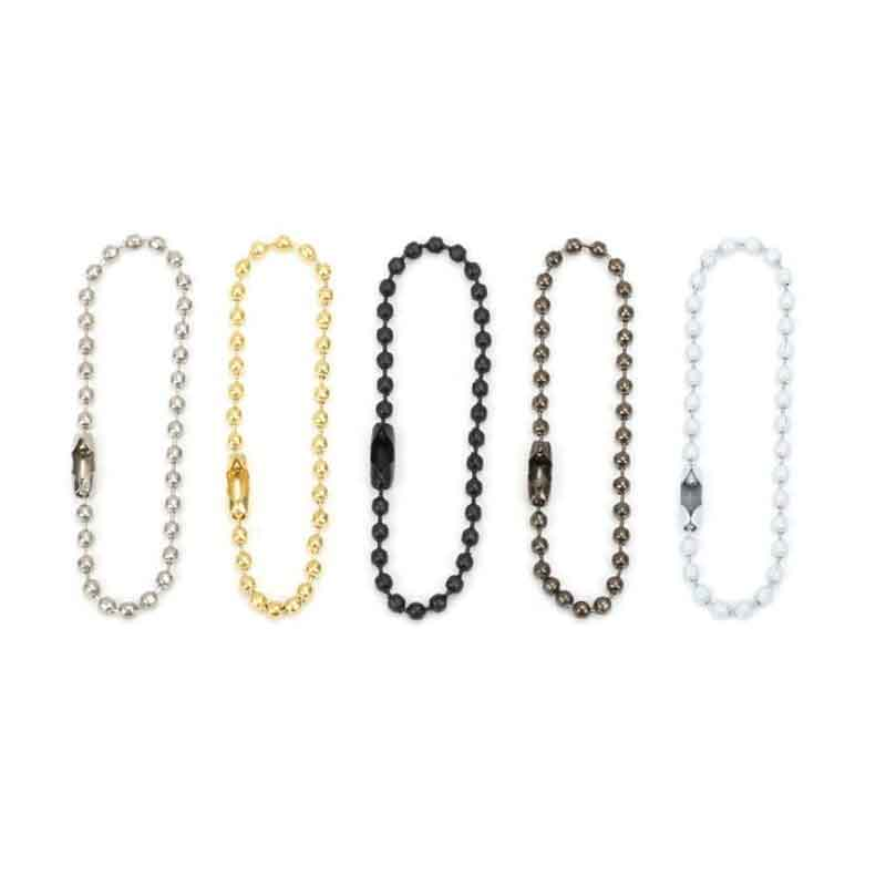 1 Pack Bulk Silver Ball Chain Connectors 2.4mm Round Ball Beaded Chain Keychain Tag 8cm 10cm 12cm 15cm 20cm Length Jewelry Craft