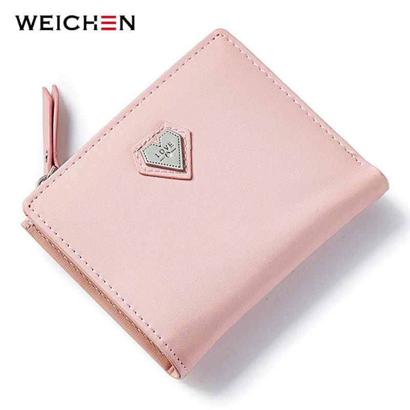 WEICHEN Pink Love Cuore Breve Borsa Del Portafoglio Per La Moda Donna, bella Mini Giorno Della Frizione e Piccole Donne Del Raccoglitore Per La Carta Moneta Foto