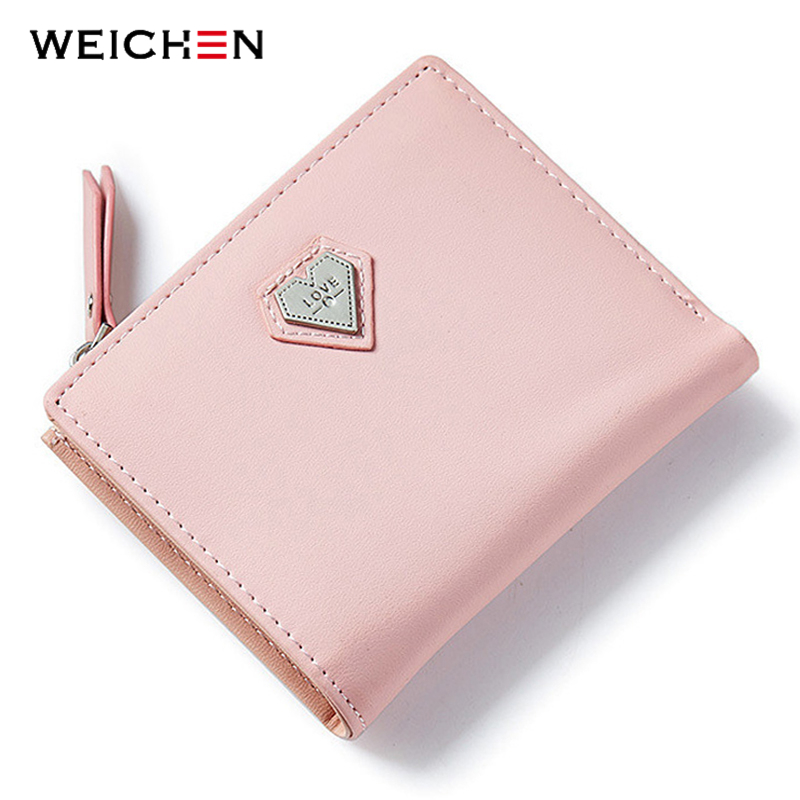 WEICHEN Pink Love Heart Short Wallet Purse For Fashion Lady, Lovely Mini Day Clutch & Small Women Wallet For Card Coin Photo aidocrystal heart shape factory direct sell fashion woman diamond clutch for lady