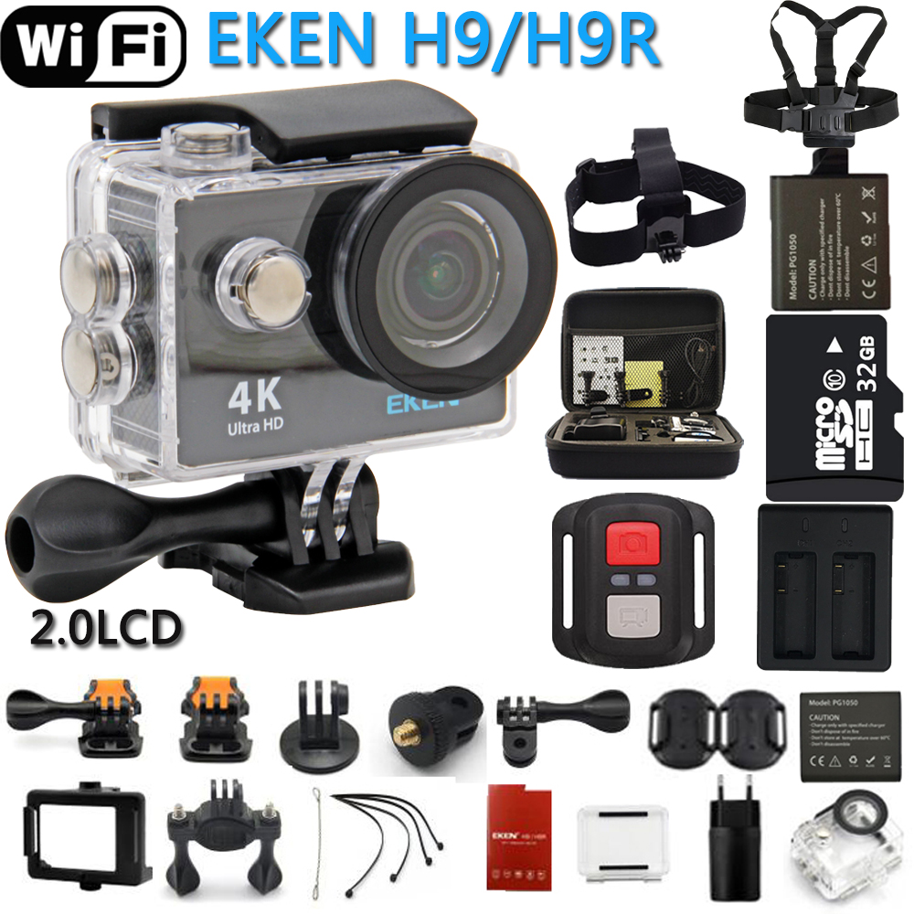 Original EKEN Action Camera eken H9R / H9 Ultra HD 4K WiFi Remote Control Sports Video Camcorder DVR DV go Waterproof pro Camera original eken sports camera h9 h9r action camera 4k 25fps with remote 2 0 helmet ultra hd cam underwater go waterproof pro