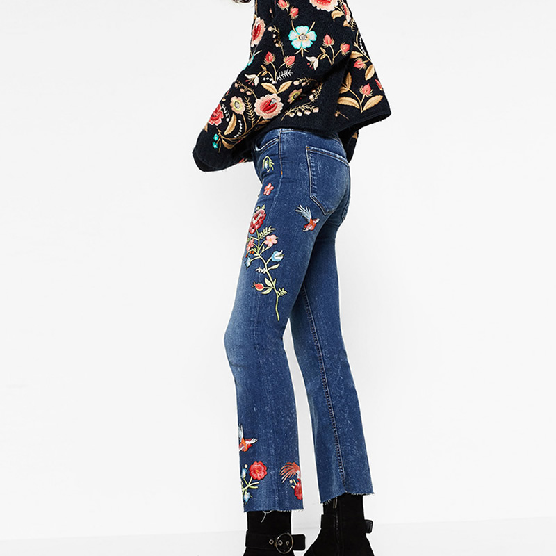 ФОТО Embroidered Floral Jeans Women 2017 New Blue Pencil Shinny Pants Denim High Waist Capris Pantalones Rotos Mujer Embroidery Jeans