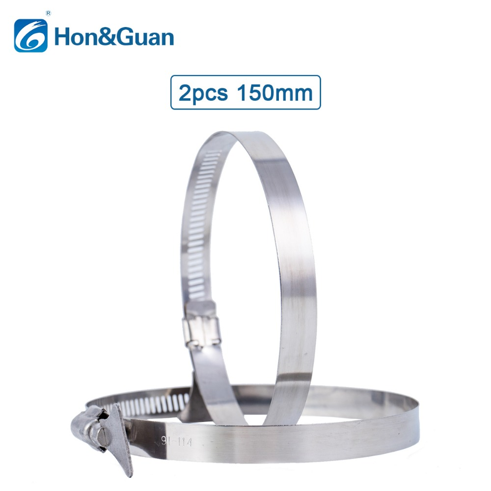 Hon&Guan 2pcs High Quality 6'' Hose Pipe Clip With Adjustable Handle , Stainless Steel Flexible Ducting Clamp (150mm)