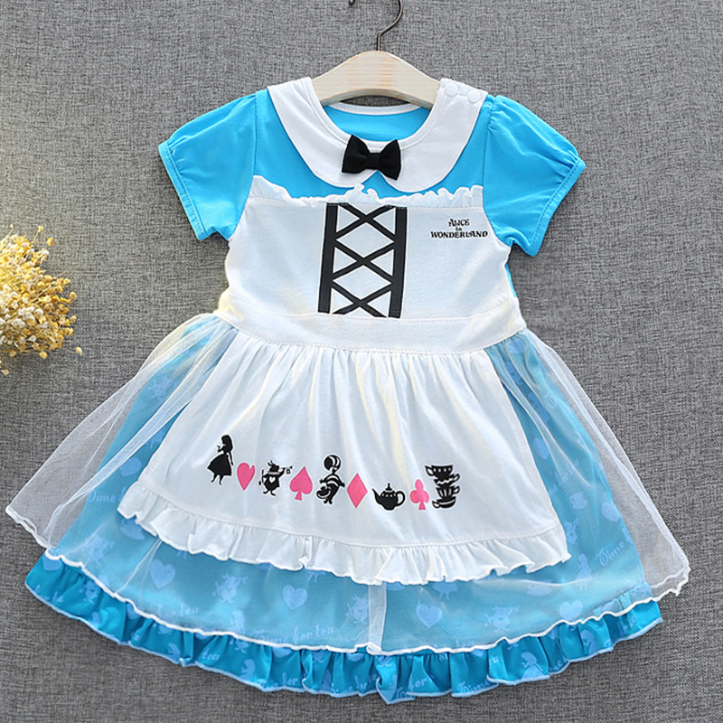 2018 Summer Alice in Wonderland Baby Girls Dress Children Tutu Birthday Party Cosplay christmas costumes infant infant clothi 3pcs girls maid lolita alice in wonderland costume cosplay fancy dress outfits