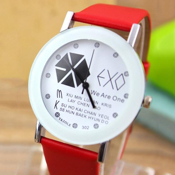 EXO Style Quartz Watch Men Women Casual Dress PU Watches Unisex Student Clock Relogio Feminino LXH exo style lover quartz wristwatches casual dress pu watches unisex student clock for men women relogio feminino ll 17