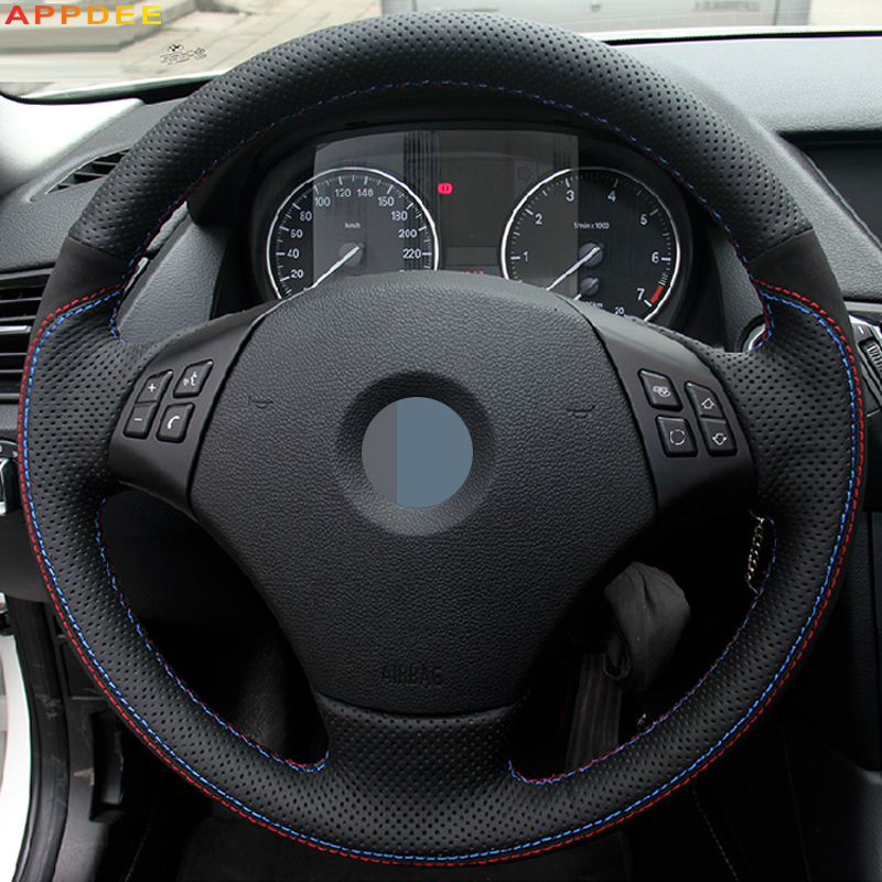 APPDEE Black Genuine Leather Black Suede Car Steering Wheel Cover for BMW E90 320 318i 320i 325i 330i 320d X1 328xi 2007 image