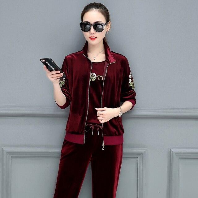 4XL plus size sets gold velvet fashion suit women autumn velvet sweater leisure three-piece sportswear women's sets pants suits