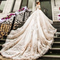 Newest Wedding Dresses 2018 Luxury Cathedral Royal Train Lace Vestido De Noiva Appliques Long Sleeve High Quality Wedding Gowns