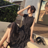Mishow Chiffon Polka Dot Dress Women Summer Midi bandage Dress Casual Sundress Women Boho Beach Dress MX18B1178