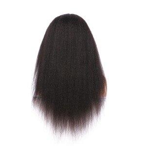Image 3 - Parrucche per capelli umani anteriori in pizzo dritto crespo ALICE nodi sbiancati brasiliani senza capelli Remy Glueless 13*4 con capelli per bambini densità 130%
