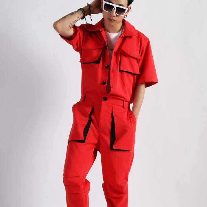 Big Red Cotton One-piece Short-sleeved Tooling Jumpsuit Tide Male Nightclub Retro Tooling Jumpsuit Singer Stage Costume