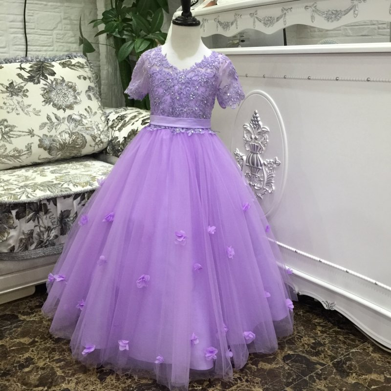 Hot Sales Ankle Length Party Dress For 14 Years Child Lilac Flower Girl Dresses Lace Appliques Short Sleeves Kids Evening Gowns knee length belted summer party clothing wedding dress kids 4 to 10 11 12 13 14 15 years 2017 child ivory flower girl lace dress