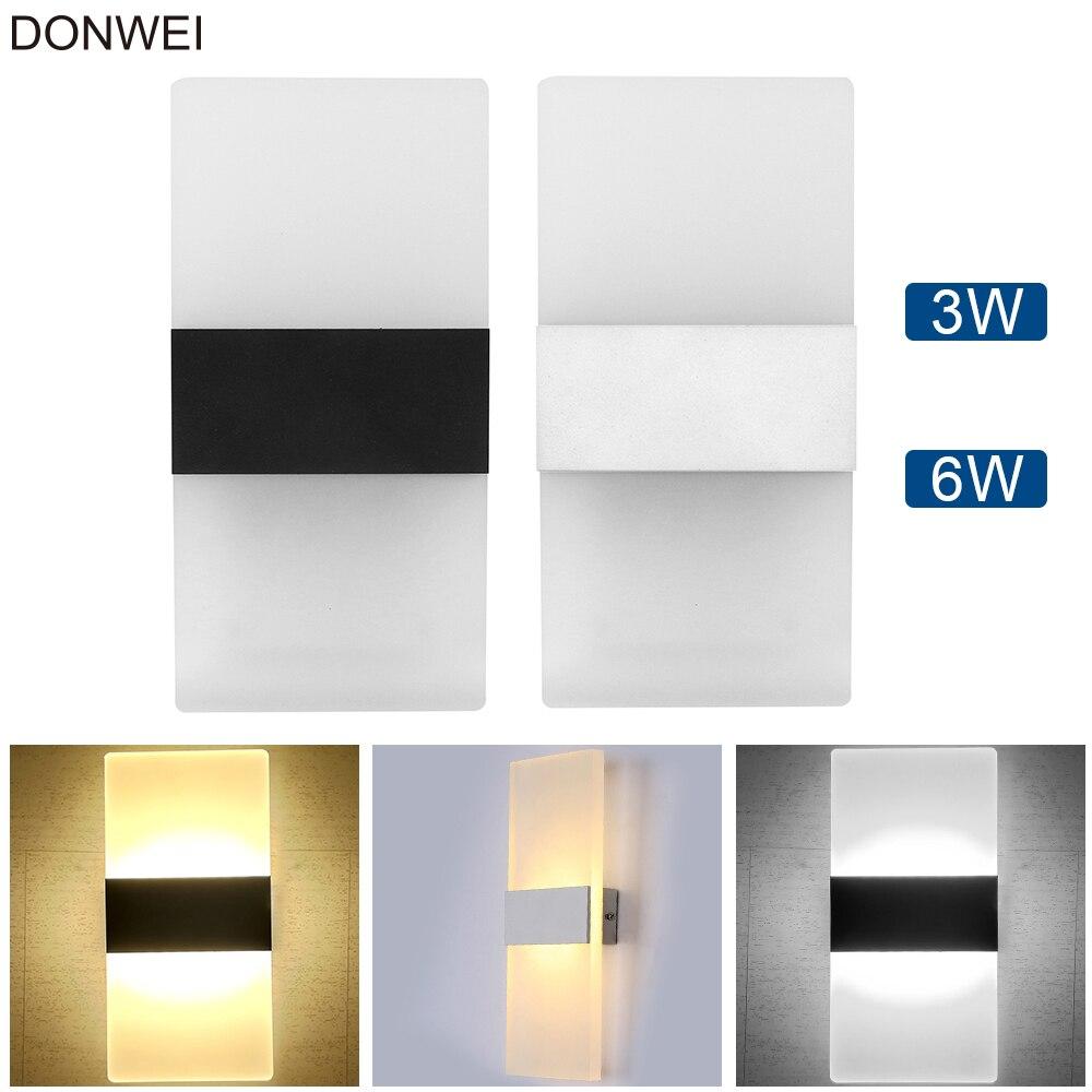Современный Крытый Декор настенный светильник вверх и Подпушка двойной головкой 3 Вт/6 Вт акрил настенный светильник для спальня коридор Лестницы AC110V 220 В