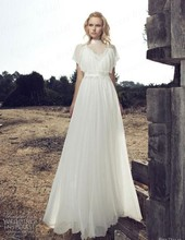 Free Shipping A-Line High Neck Chiffon Sweep Train Simple Ivory Wedding Dress By Riki Dalal AW438
