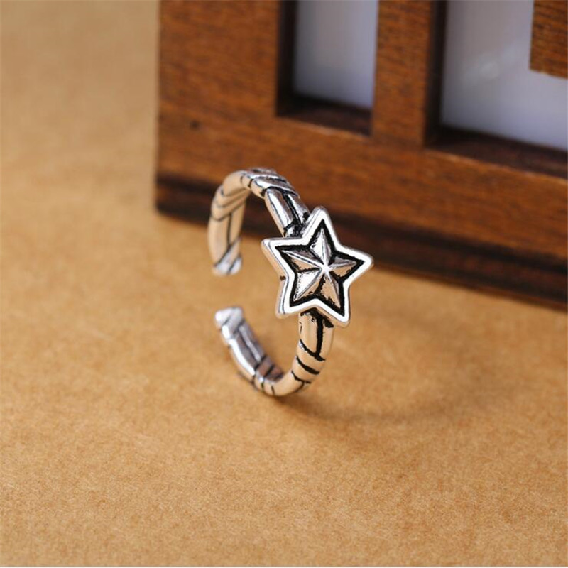 Korean Style Fashion Jewelry New Retro 925 Sterling Silver Five-pointed Star Personality Sweet Cute Opening Rings R60