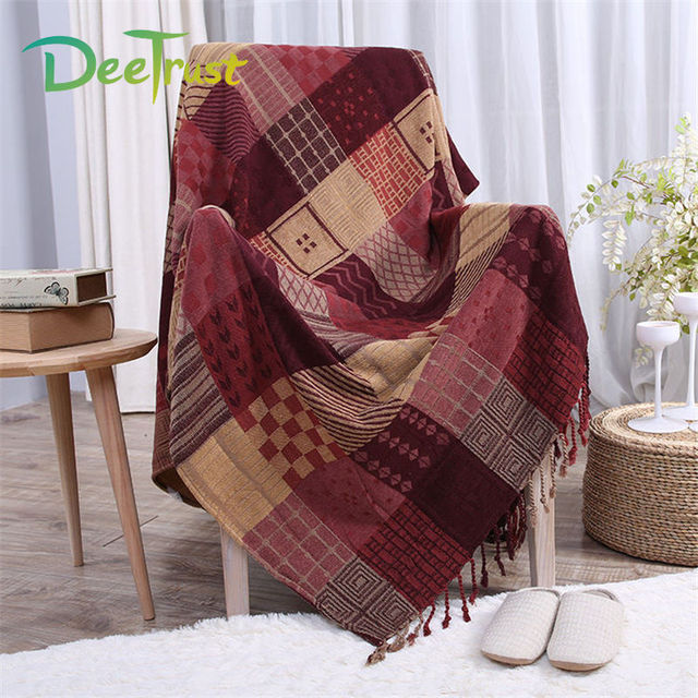 Us 42 85 40 Off Chenille Carpet Thickened Tel Plaid Cotton Blanket 150x190cm 220x250cm Sofa Throws On Bed Plane Cover Decor Cobertor In