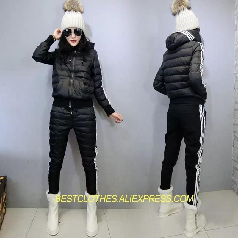 7ca341acc4ace Mode Manteau Hiver Pardessus Iy328 2 Veste Pcs Capuchon Femme Black red Habit  Neige Costumes 2018 De Rembourré Femmes Nouveau À Coton Parkas Sgdw8wq