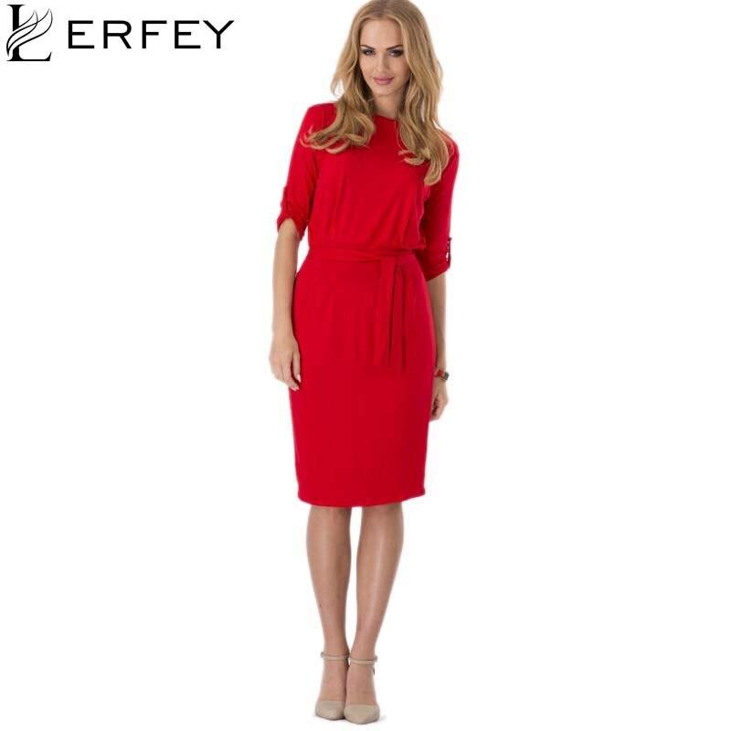 ab754db19ae64 LERFEY Kadınlar Yaz Elbise Retro Tunik Klasik Bandaj Zarif Elbiseler Siyah  Kırmızı Mavi Vestidos Ofis Çalışma Midi Yeni Moda Elbise