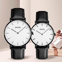 SKMEI Lovers Watches Women Men Black Leather Quartz Wrist