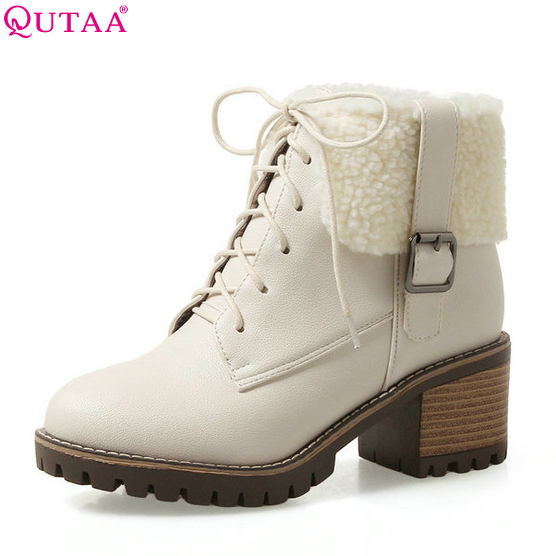 QUTAA 2018 Women Ankle Boots Square High Heel Lace Up Buckle Design Westrn Style Fashion Round Toe Women Boots Size 34-43
