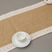 30x275cm Vintage Burlap Lace Love  Embroidery Hessian Table Runner Natural Jute Country Party Wedding Decoration