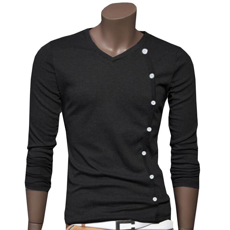 men 39 s t shirts long sleeve button decorated t shirt homme. Black Bedroom Furniture Sets. Home Design Ideas