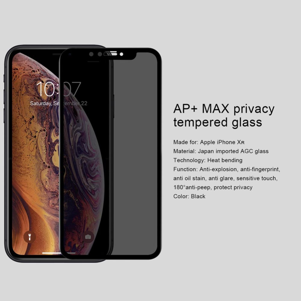 Nilkin για iPhone Xr Anti Spy Tempered Glass Nillkin 3D AP + Max - Ανταλλακτικά και αξεσουάρ κινητών τηλεφώνων - Φωτογραφία 3