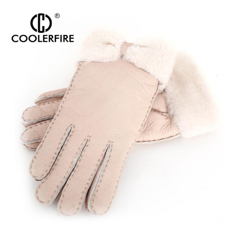 Women's Gloves Womail Winter Gloves Women Real Sheepskin Cashmere Fur Warm Gloves Ladies Full Finger Genuine Leather Mitten Gloves M301224