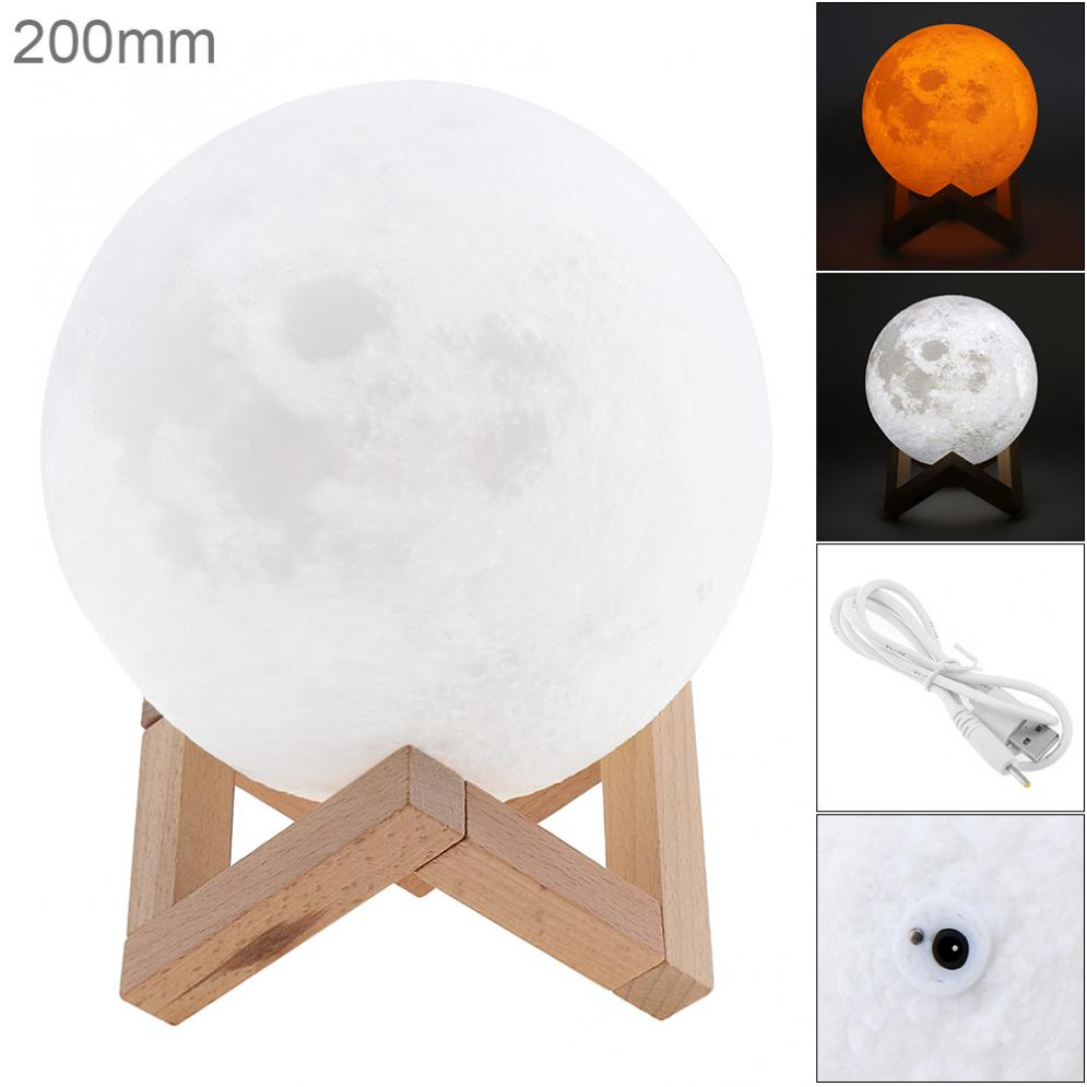 Creative Gift / Home Decor 20CM 3D Rechargeable Print Moon Lamp with 2 Color Change Touch Switch magnetic floating levitation 3d print moon lamp led night light 2 color auto change moon light home decor creative birthday gift