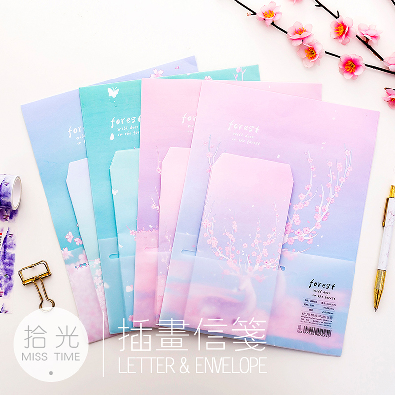 3 Envelope + 6 Paper /Lot Luye Forest Pink Plum Envelope Postcards Greeting Card Cover Paper Envelopes Stationery