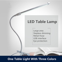 80 LED 8W Long Arm Table Lamps LED Desk Read Lamp Office Table Eye Protection Light USB Powered Foldable Dimmer 10 Levels Clamp
