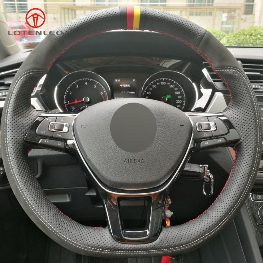 LQTENLEO Black Genuine Leather Suede DIY Car Steering Wheel Cover for Volkswagen VW Golf 7 Mk7