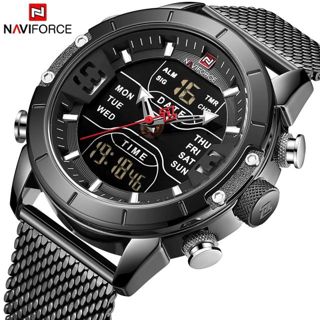 新しい NAVIFORCE 男性腕時計トップの高級ブランドメンズデュアルディスプレイ軍事スポーツ男性のファッション防水クォーツ腕時計