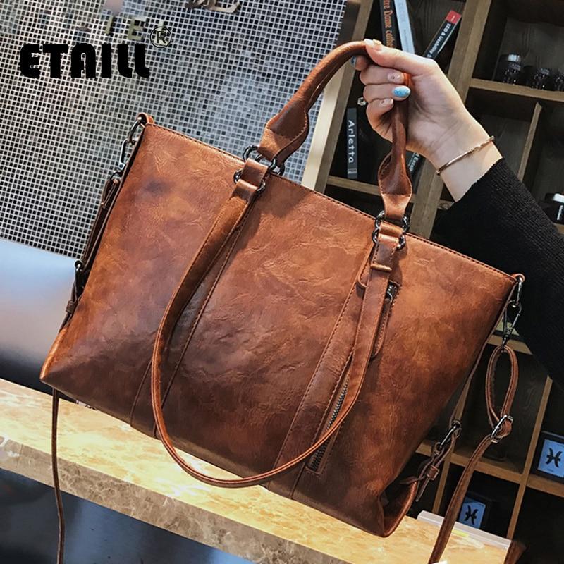 ETAILL 3 Shoulder Straps Oil Wax Pu Leather Handbags Brand Luxury Lady Hand Bags Large Women Messenger Shoulder Bag Big Tote