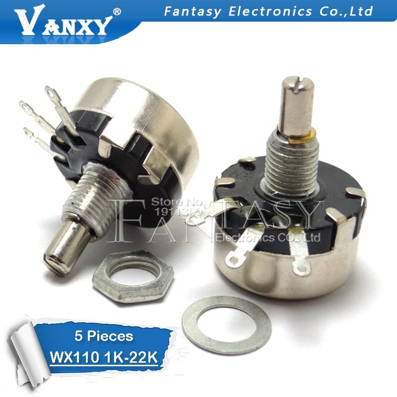 5pcs WX110 (010) 6mm Round Metal Shaft Single Turn Wire Resistor Wound Potentiometer 1k 2.2k 3.3k 4.7K 5.6k 6.8k 10k 22k Ohm
