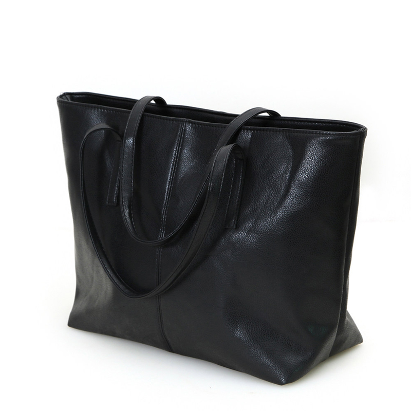 Casual Black Tote Bag Fashion PU Large Bag Women Stylish Simple Shoulder Bag Ladies Trendy Succinct