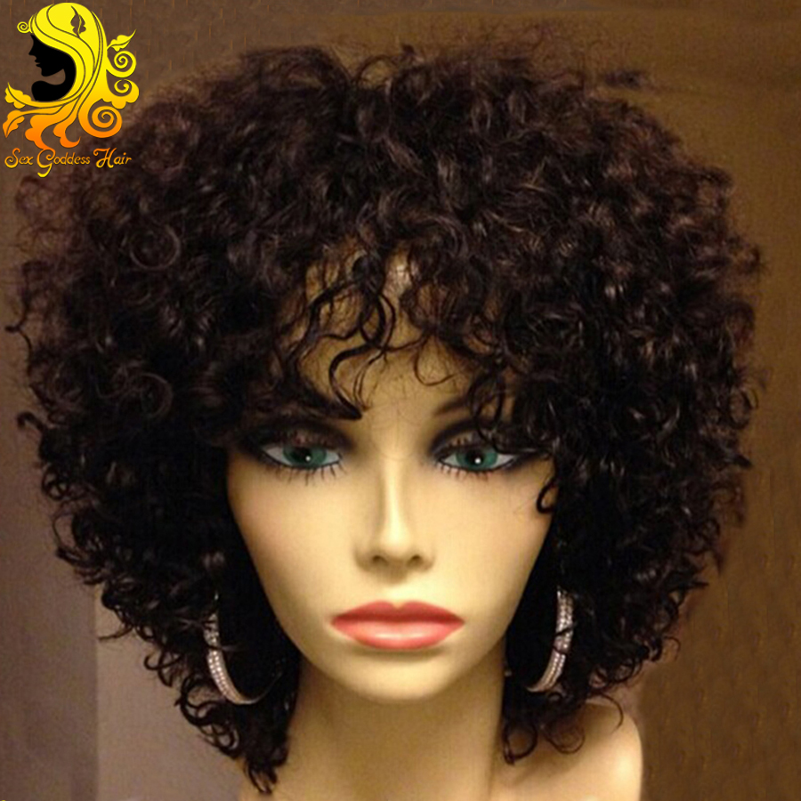 7A Short Curly Lace Front Human Hair Wigs With Bangs