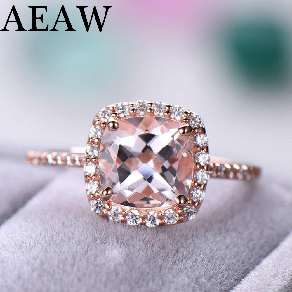 Square 1 3ct Morganite Engagement Ring Solid 14k Rose gold Round Cut Genuine Halo Moissanite Diamond