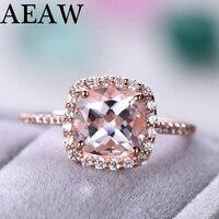 Square 1.3ct Morganite Engagement Ring Solid 14k Rose gold ,Round Cut Genuine Halo Moissanite Diamond Bridal Set Trendy Jewelry